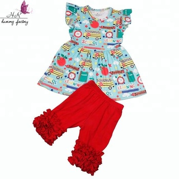 2018 baby girl party dress children design school bus pattern back to school  clothing outfit 3b24aff6ab