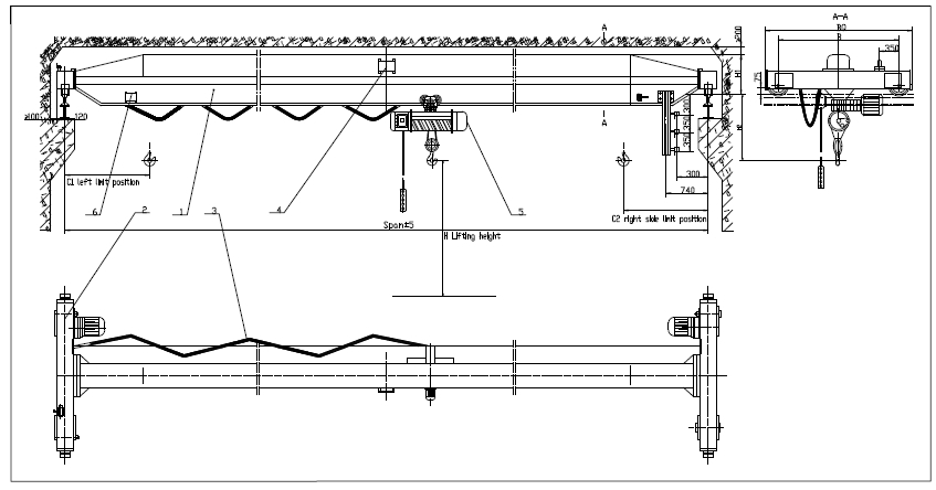 Overhead Crane Autocad Drawing : Cargo lifting equipment overhead travelling cranes ton