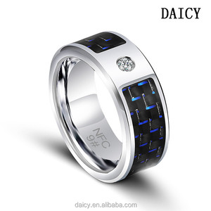 DAICY wholesale men's fashion blue carbon fiber stainless steel NFC mota  smart ring