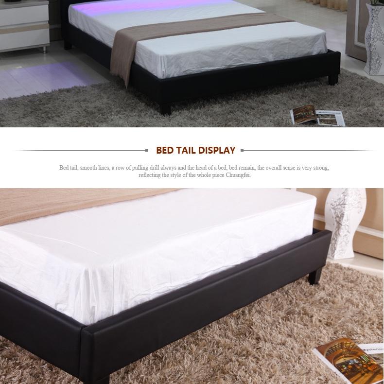 Muebles De Dormitorio Casa Diseño De Moda Negro Pu Cuero Doble Cama ...