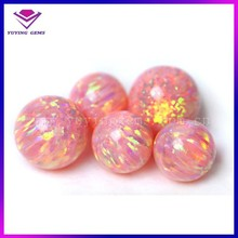 Round Cabochon 8mm Pink Color Opal Synthetic Ethiopian Opal Beads