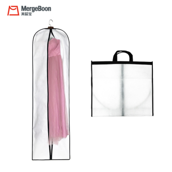 Mergeboon luxury 90GSM non woven wedding dress cover bag with zipper wholesale