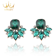 wholesale vintage Style blue stone 925 silver big top earrings