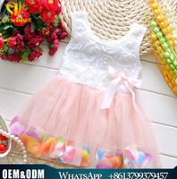 2017 Easter toddler clothes bow applique beaded pettiskirt fancy rose design tulle tutu skirt petals baby dress