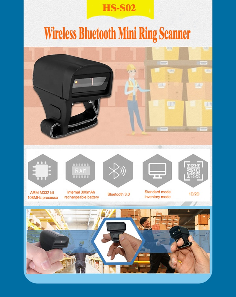 Cheapest Portable 2D Mini Wireless Finger Ring Bluetooth Barcode Scanner HS-S03