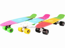 Plastic Cruiser Skateboard Blue Deck Complete Size DIY Banana Board (Green Wheels, 22 Inches)