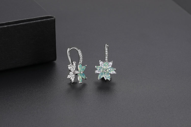 Best selling opal flower hoop earrings cz crystal flower earrings
