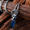 Titanium stainless steel wolf varieties of color crystal pendant necklace