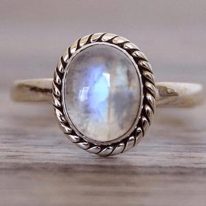 R722 Huilin custom Vintage 925 silver plated copper wedding rings moon stone rings natural blue Moonstone engagement rings