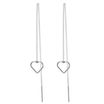 11a70b849 simple heart design handmade long chain thread earrings frame white gold  plated bulk buy sterling silver
