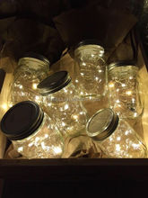8 Function reomte control LED copper wire string lights battery powered firefly lights for Jar