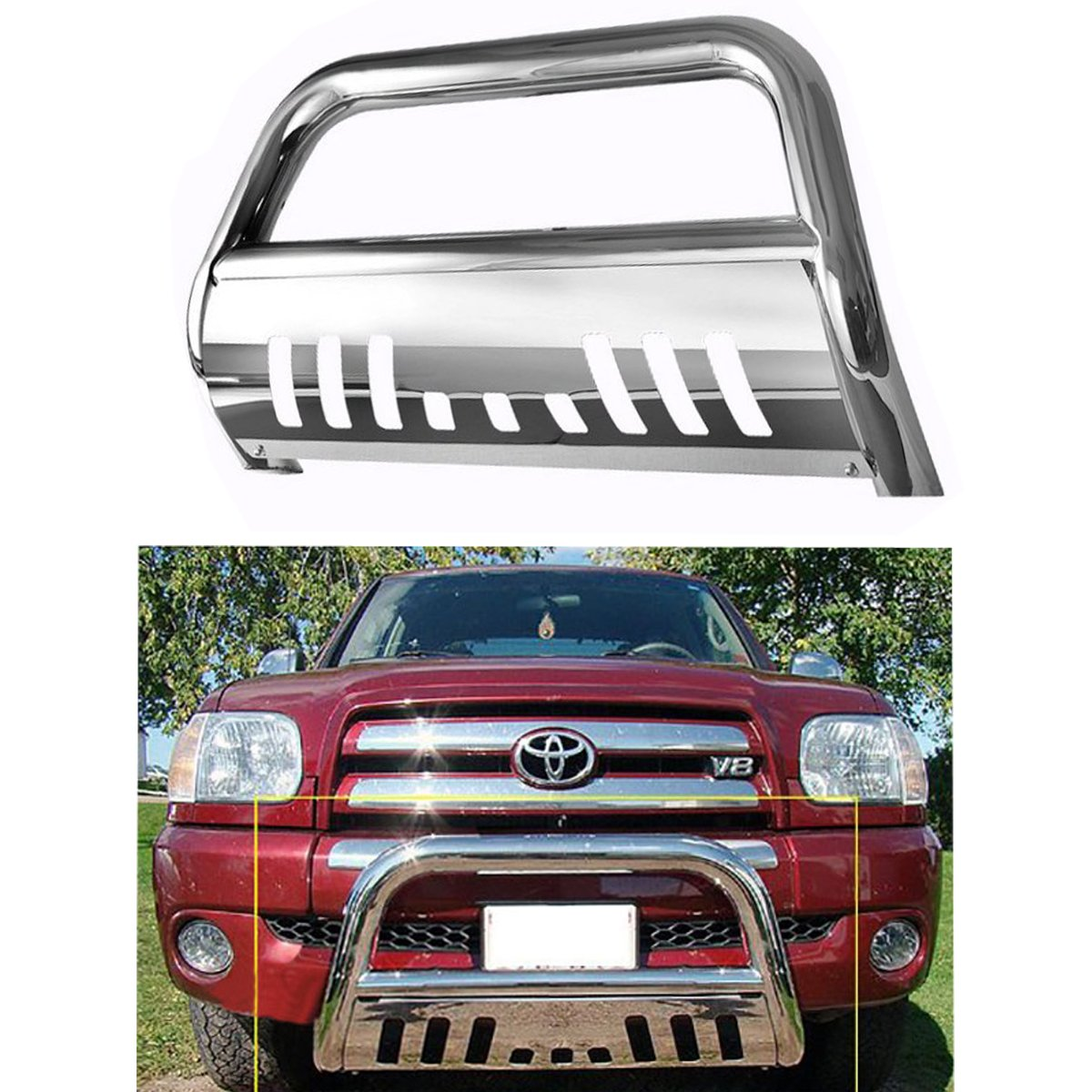 Bull Bar Skid Plate Front Push Bumper Grille Guard Stainless Steel Chrome for 2005-2015 Toyota Tacoma
