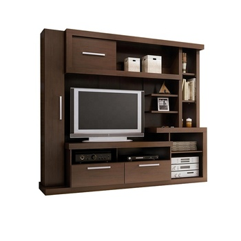 Factory cheap price simple tv stand modern design wood tv cabinet with bookshelf storage cabinets