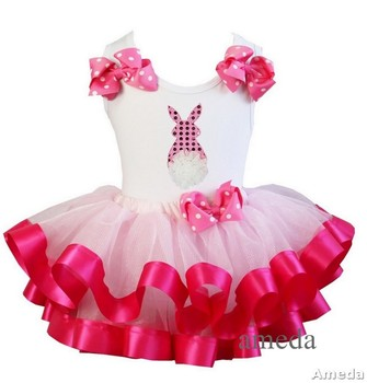 Girls Light Hot Pink Satin Trimmed Tutu with Easter Rose Tail Bunny White Tank Top 1-7Y