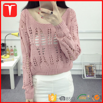 6efcdccf7 Vintage Loose Knit Women Scoop Neck Free Crochet Sweater Pattern ...