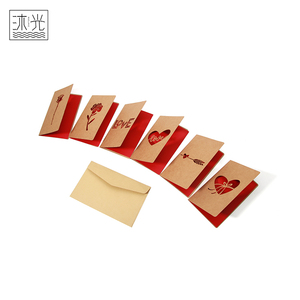 Wholesale Customized Design Paper Cut Folding Cutout Greeting Cards With Envelopes