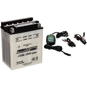 Power-Sonic CB14L-A2 Conventional Powersport Battery and Battery Tender 022-0150-DL-WH 800 Battery Charger Bundle