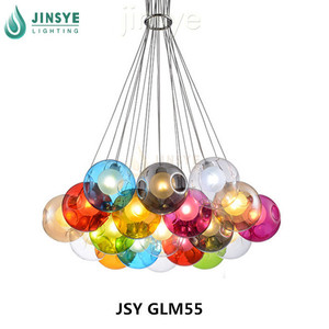 European modern decorative coffee shop hanging light stained bubble glass multi lights industrial pendant lamp