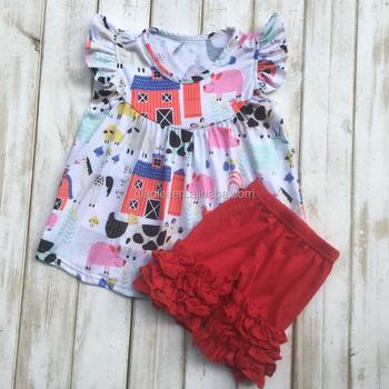 b75040fa7b41 2017 Fashion Baby Farm Flutter Sleeve Ruffle Short Set Little Girl ...
