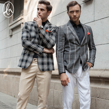 Order high quality plaid polyester slim fit casual blazer