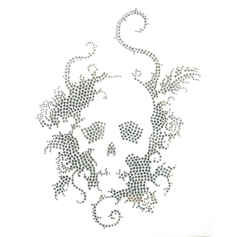 Get Quotations · Rhinestone Iron on Transfer Hot Fix Motif Crystal Fashion  Design Skull Silver 1 Sheets 0f1f4ed9967f