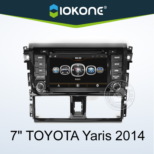 high quality 2 din car DVD player with built-in GPS navigation/Bluetooth/Audio/Radio/iPod for Toyota Yaris/ VIOS 2014