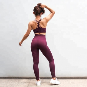 Women Yoga Gym Set Fitness Sportswear Bra+Pants Running Suit Weave Leggings