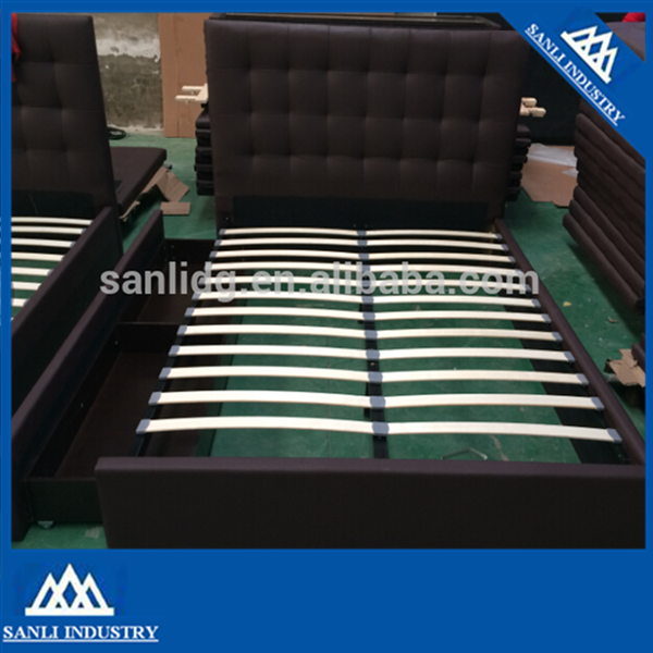 soft bed Black leather bed with wood slats