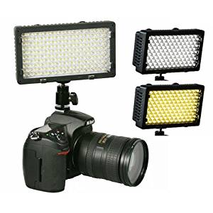 ePhoto Professional 240 LED Bi Color Video Light Panel l with Color Temperature Switch 3200K-5400K and Brightness Dimmer CN240CH
