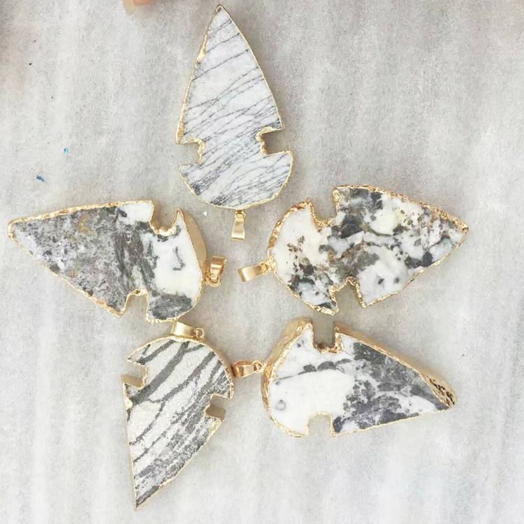 Nature Druzy Arrowhead Pendant Jewery With Gold Plated Geode Charm