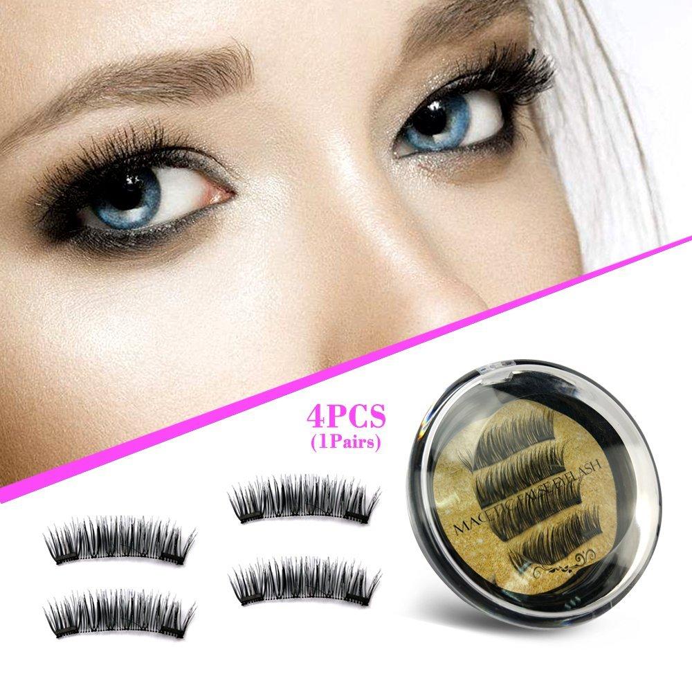 86d7041dd72 Get Quotations · Best False Magnetic Lashes Full Strip No Glue Natural  Length Magnet Eye Lashes Set 3D Reusable