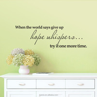 removable adhesive wall sticker decor art vinyl quote wall decals when the word says give up home goods wall art