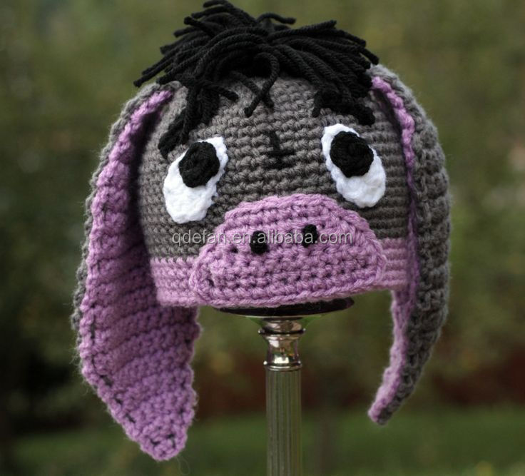 Handmade Crochet Donkey Hat Baby Girls Hat Girls Crochet Animal Hat
