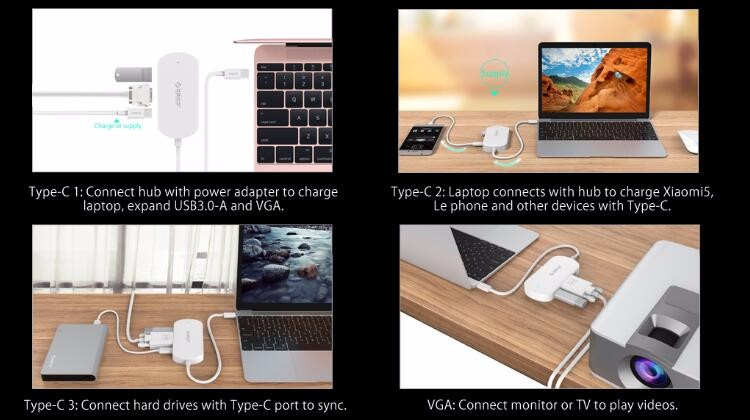 ORICO 4 Port Type-C with VGA ouput USB3.0 Hub for new Macbook