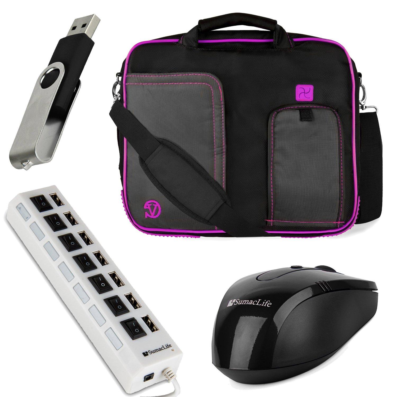 VanGoddy Pindar Messenger Bag for VAIO Z Canvas 12.3 inch Laptop / Tablet with USB Mouse & 4GB Thumbdrive & 7 Port USB Hub, Plum Purple
