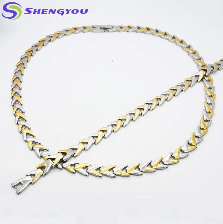 Latest Design Saudi Gold Jewelry Necklace Stainless Steel Two Tones Jewelry Sets