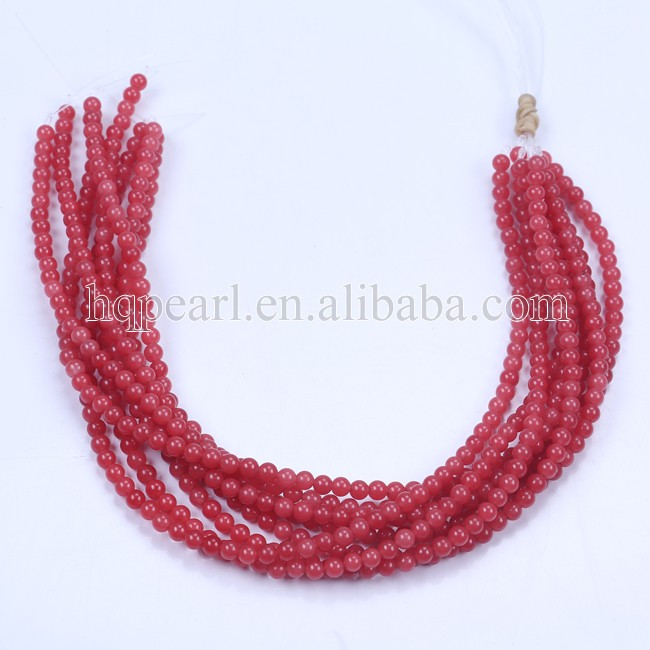 6 mm round smooth dyed red jade beads