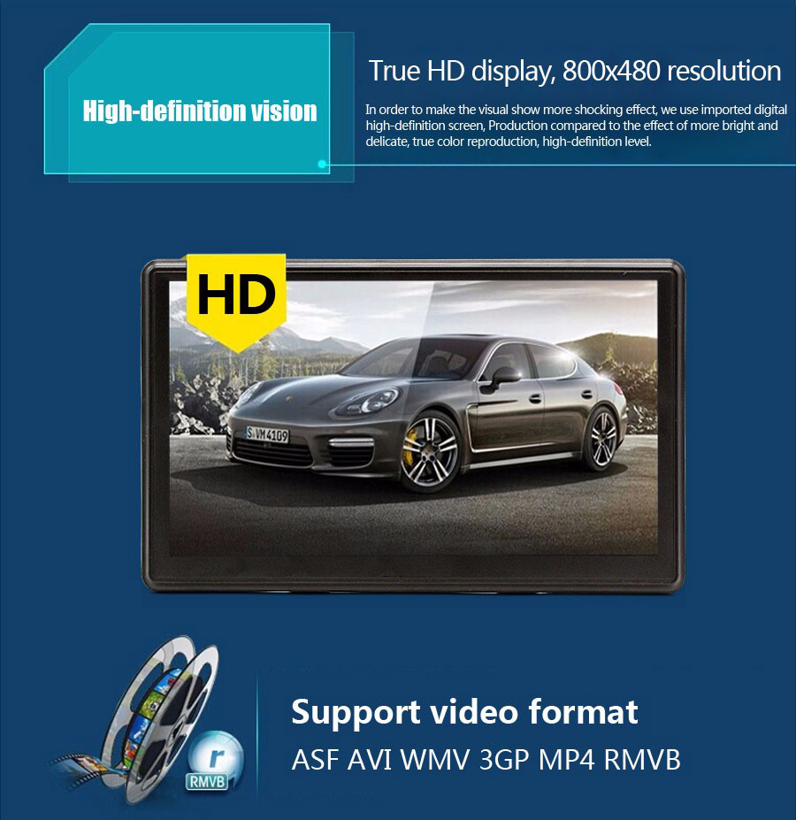 "7"" HD Touch Screen 256MB 8G Car GPS With Free Navigation Maps"