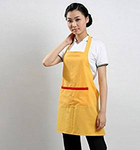GL&G Female hanging neck apron, durable, anti-fouling anti-oil, pocket, cooking baked apron,yellow,70cm64cm