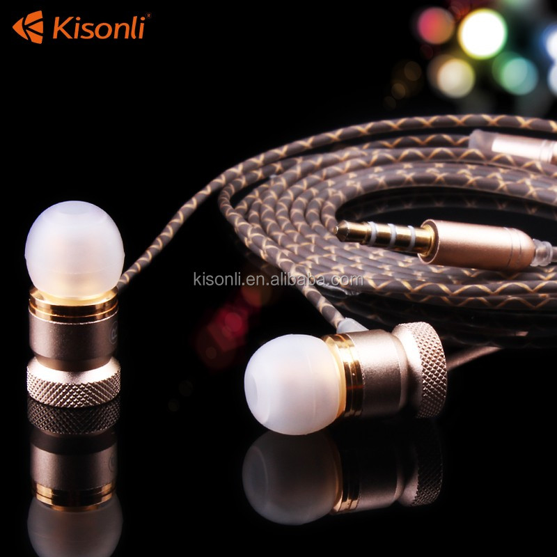 High quality waterproof metal earphone stereo fashion MP3 wired bluetooth earphone
