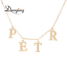 Initial Name Necklace Personlized Customized Name Letter Pendant Charms Jewelry Necklace Dainty Bridesmaid Gift