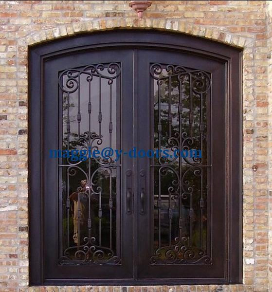 hand forged arch Double entry door wrought iron door steel front interior door