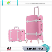 Pink vintage suitcase,rolling ABS trolley travel luggage set 2 pieces