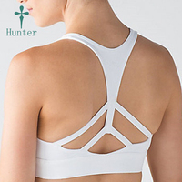 Top Quality 4 Way Stretch Athletic Apparel Spandex White Padded Sports Bra In Stock