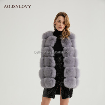 2018 Wholesale new fashion real fur fox gilet for ladies