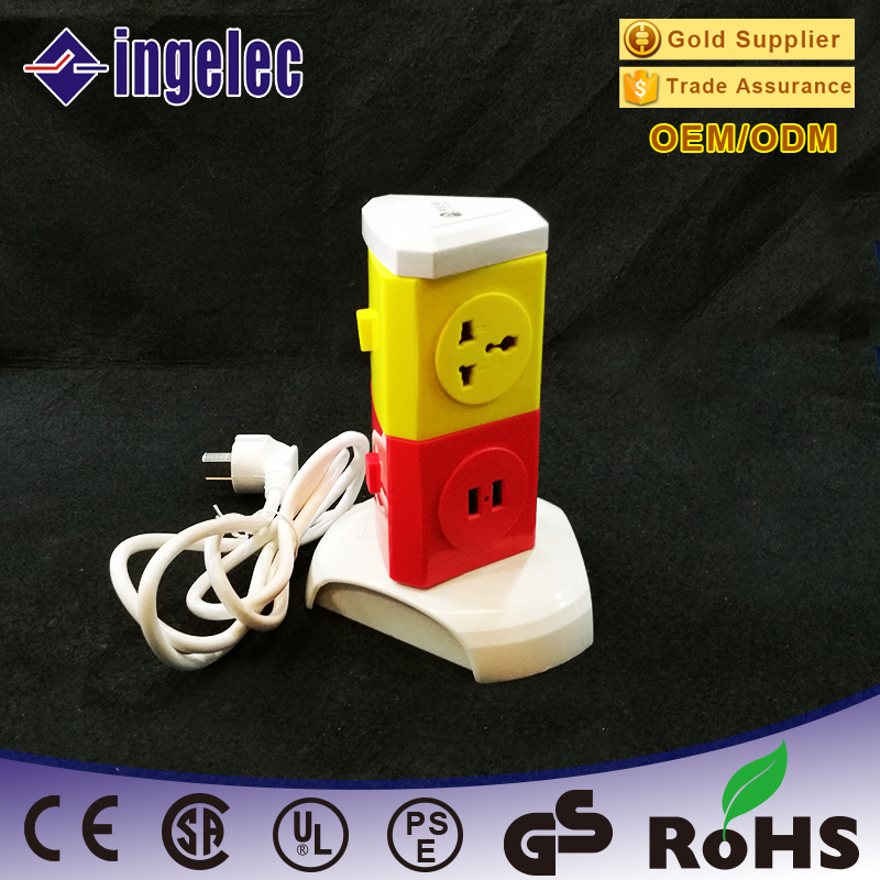 Wholesale 2 Layer Universal Vertical Rotary Power Extension Socket With Usb And 1-5 Meters Power Cable