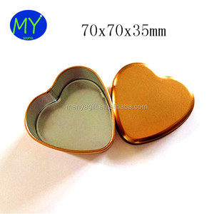 7x7x3.5cm Gold Color Small Heart Shape Tin Box For Wedding