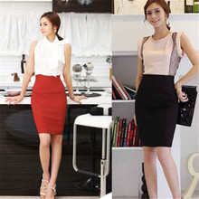 OL Women High Waist Fit Knee Length Straight Solid Stretch Business Pencil Skirt Free Shipping