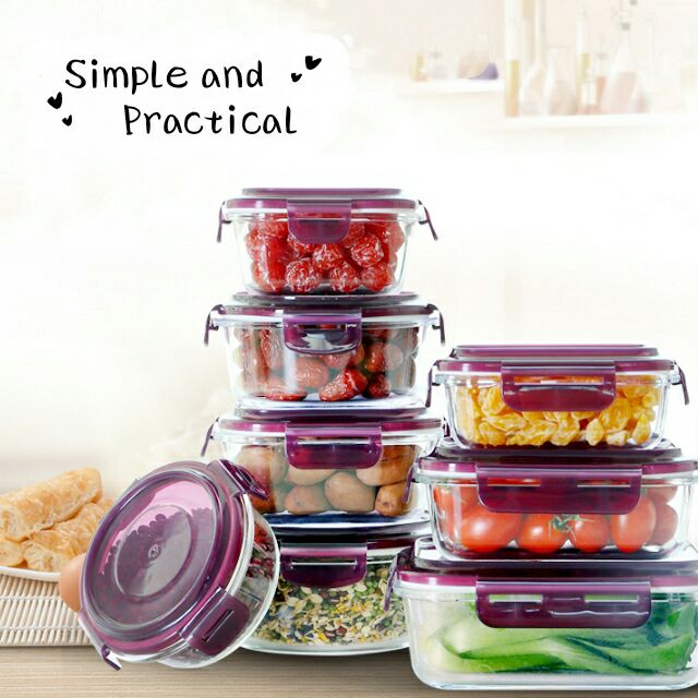Glas Voedsel Opslag Containers Glas Maaltijd Prep Containers Herbruikbare Magnetron Veilig FDA Lunch Containers met Smart Snap Lekvrij