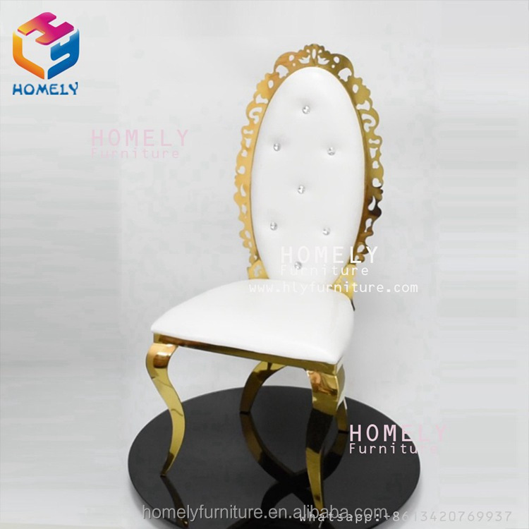 round hollow out royal back rose gold white new design hotel party banquet wedding dining chair stainless steel